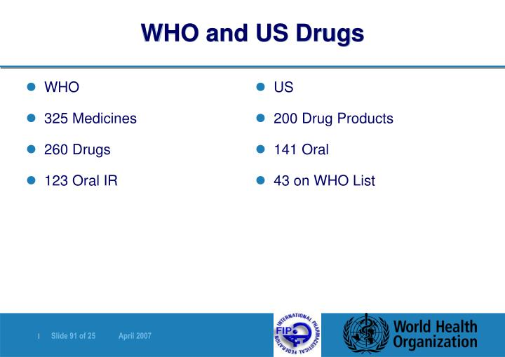 WHO and US Drugs