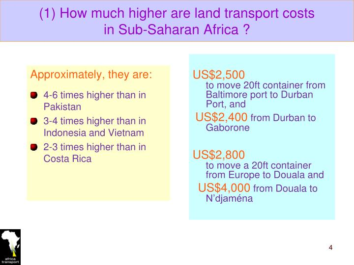(1) How much higher are land transport costs