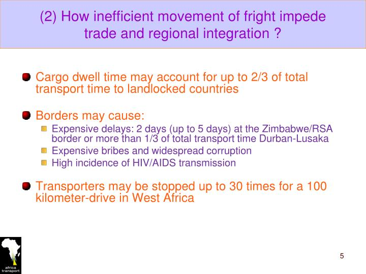 (2) How inefficient movement of fright impede