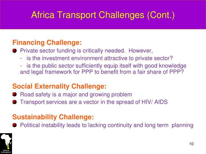 Africa Transport Challenges (Cont.)