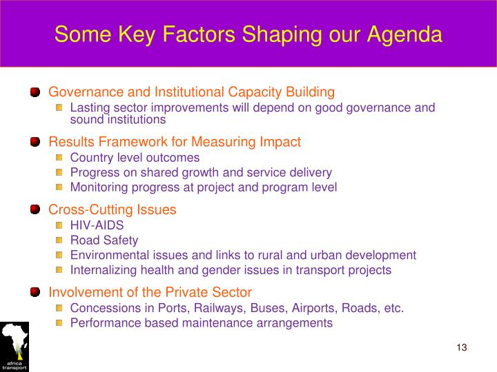 Some Key Factors Shaping our Agenda
