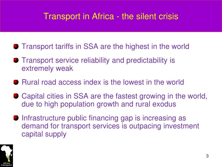 Transport in Africa - the silent crisis