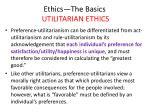 ethics the basics utilitarian ethics31