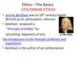 ethics the basics utilitarian ethics8