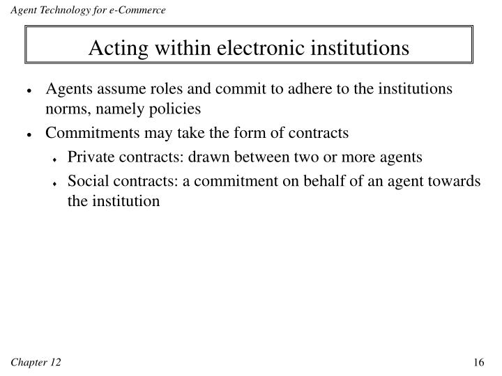 Acting within electronic institutions