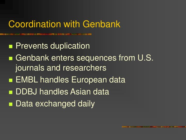 Coordination with Genbank