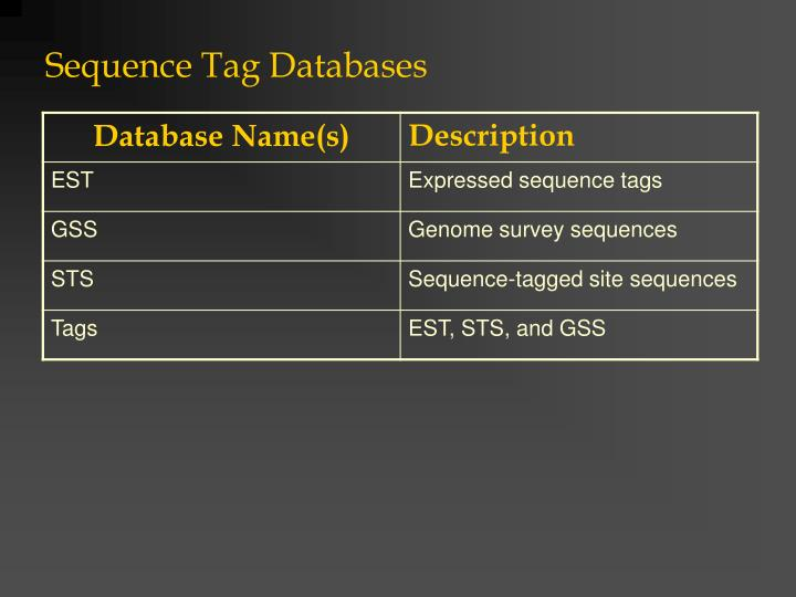 Sequence Tag Databases
