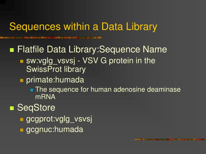 Sequences within a Data Library