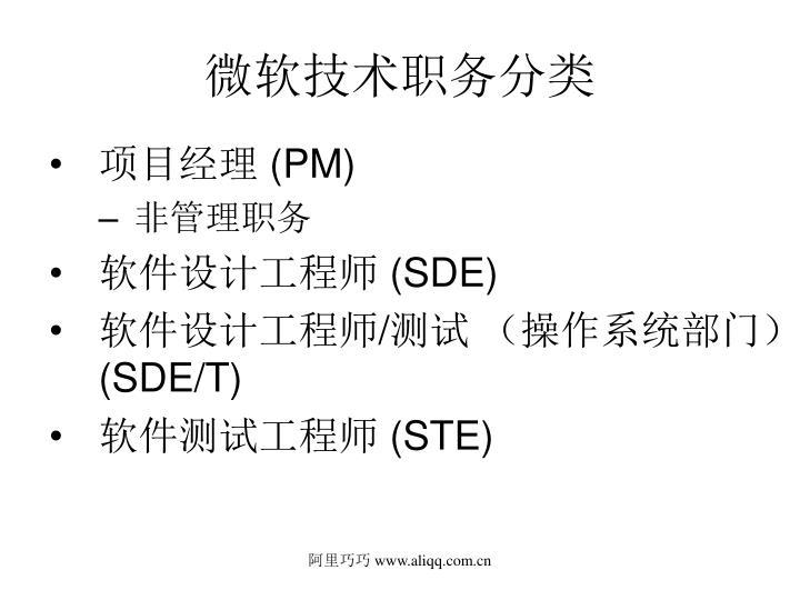 微软技术职务分类
