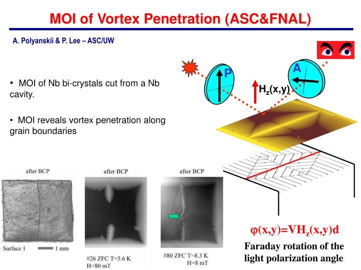 MOI of Vortex Penetration (ASC&FNAL)
