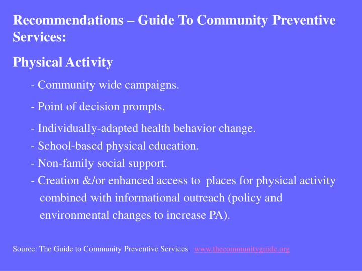 Recommendations – Guide To Community Preventive Services: