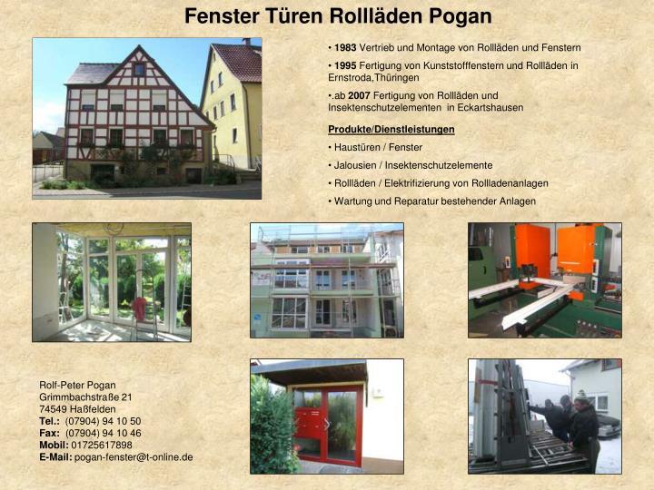 Fenster Türen Rollläden Pogan