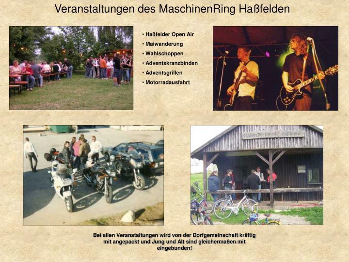 Veranstaltungen des MaschinenRing Haßfelden