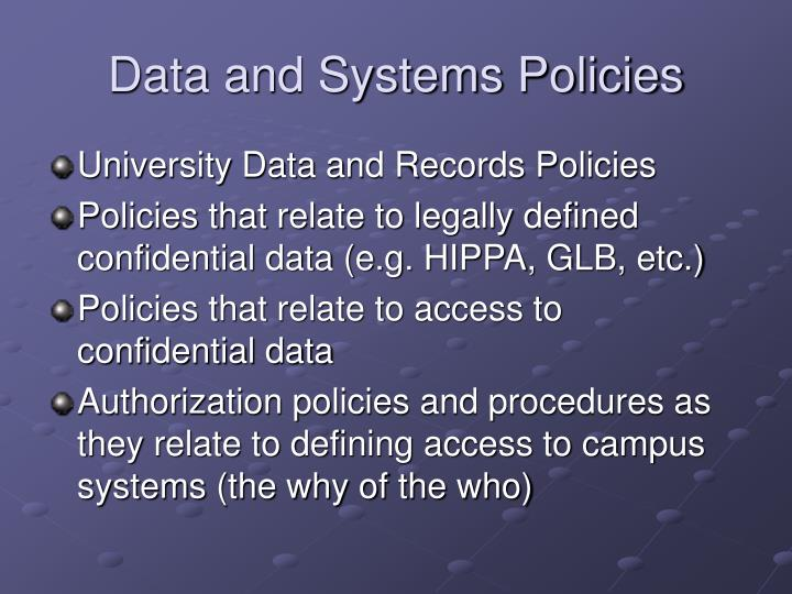 Data and Systems Policies