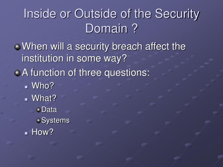 Inside or Outside of the Security Domain ?