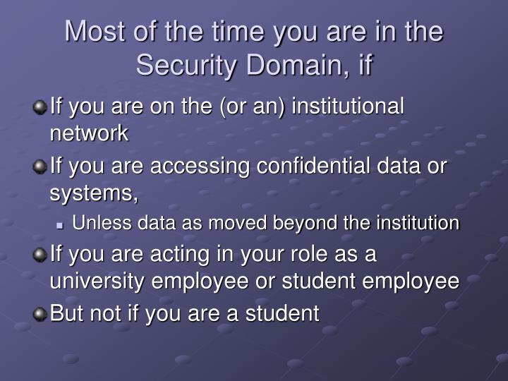 Most of the time you are in the Security Domain, if