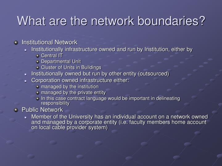 What are the network boundaries?
