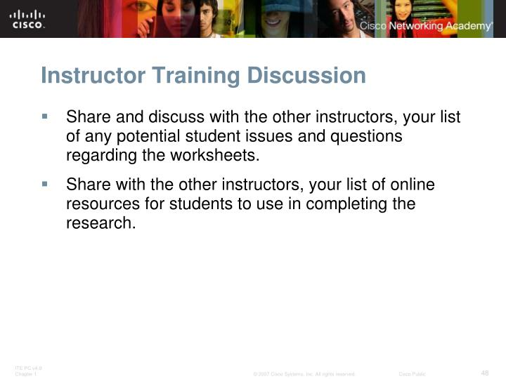 Instructor Training Discussion