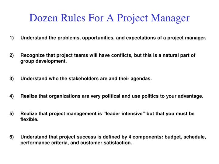 Dozen Rules For A Project Manager