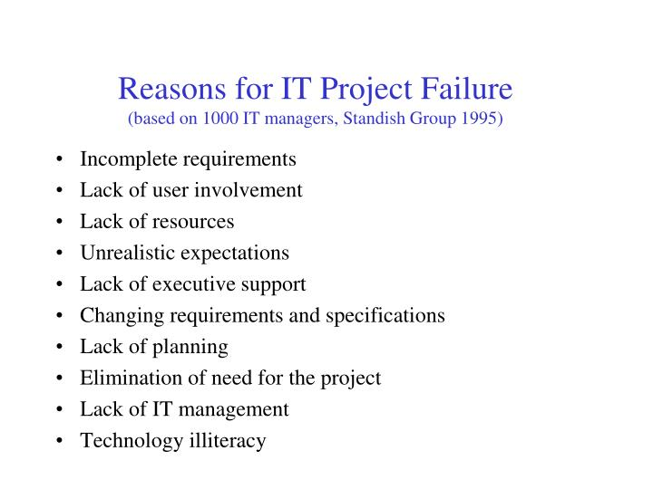 Reasons for IT Project Failure