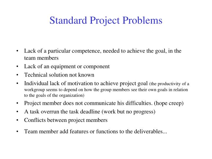 Standard Project Problems