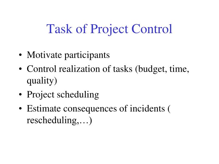 Task of Project Control