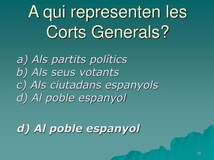 A qui representen les Corts Generals?