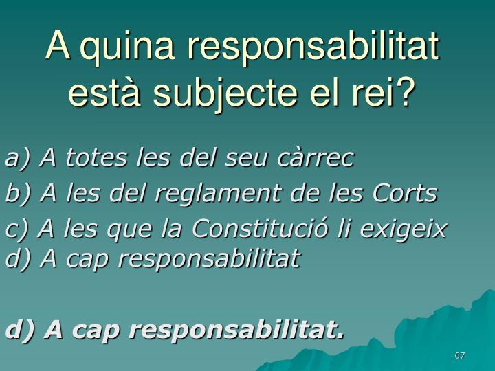 A quina responsabilitat està subjecte el rei?