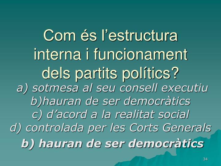 Com és l'estructura interna i funcionament dels partits polítics?