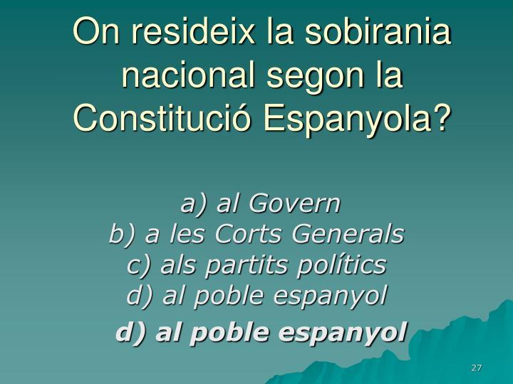 On resideix la sobirania nacional segon la Constitució Espanyola?