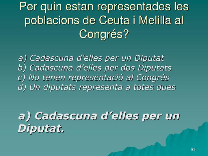 Per quin estan representades les poblacions de Ceuta i Melilla al Congrés?