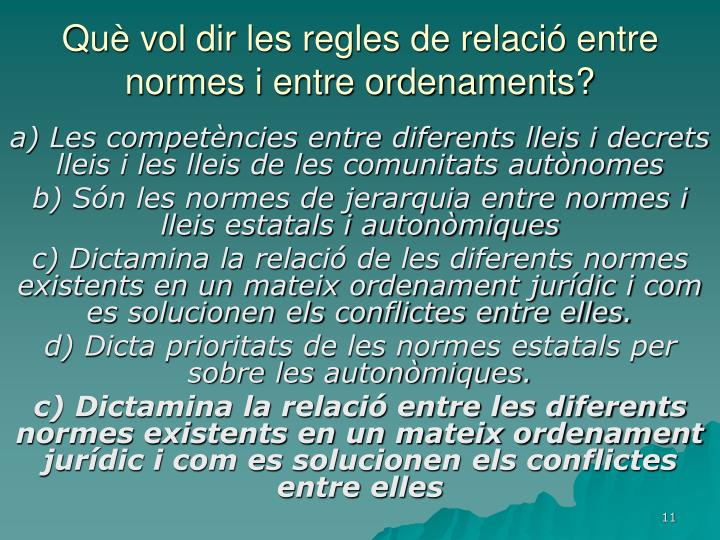 Què vol dir les regles de relació entre normes i entre ordenaments?