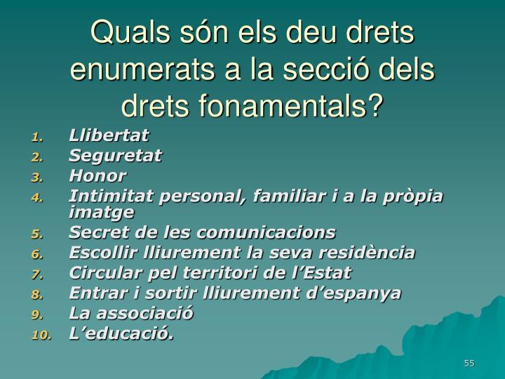 Quals són els deu drets enumerats a la secció dels drets fonamentals?