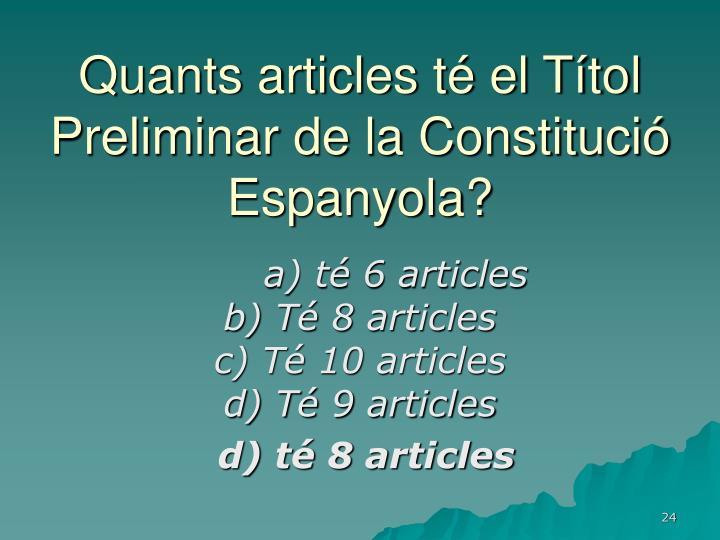 Quants articles té el Títol Preliminar de la Constitució Espanyola?