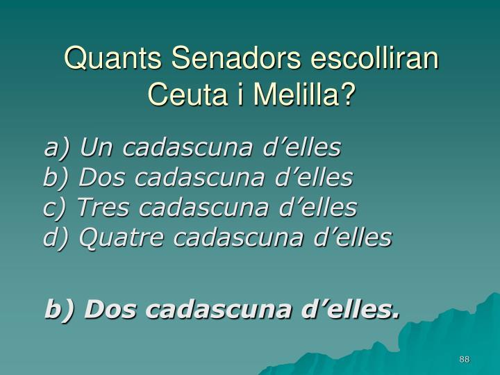 Quants Senadors escolliran Ceuta i Melilla?