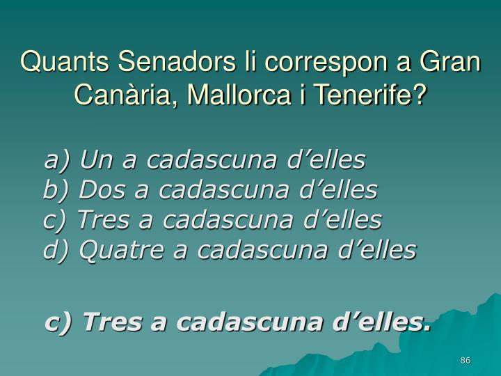 Quants Senadors li correspon a Gran Canària, Mallorca i Tenerife?