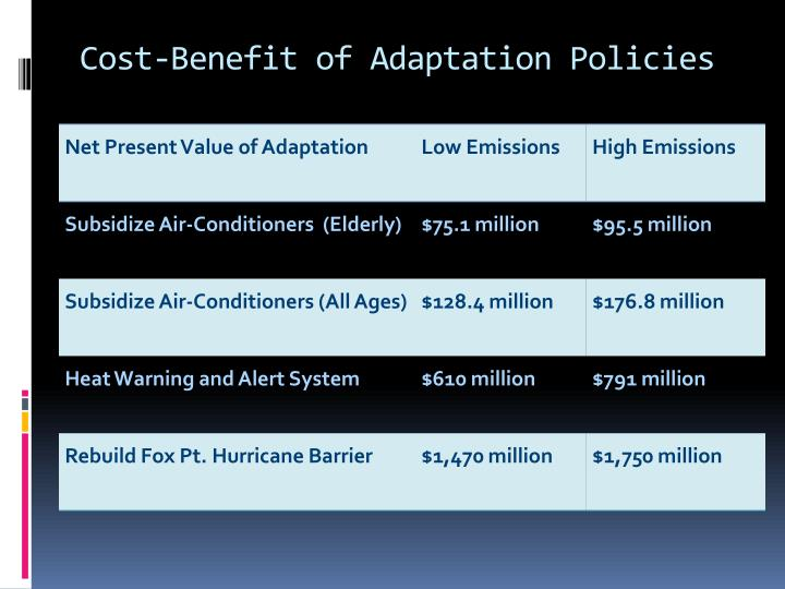 Cost-Benefit of Adaptation Policies