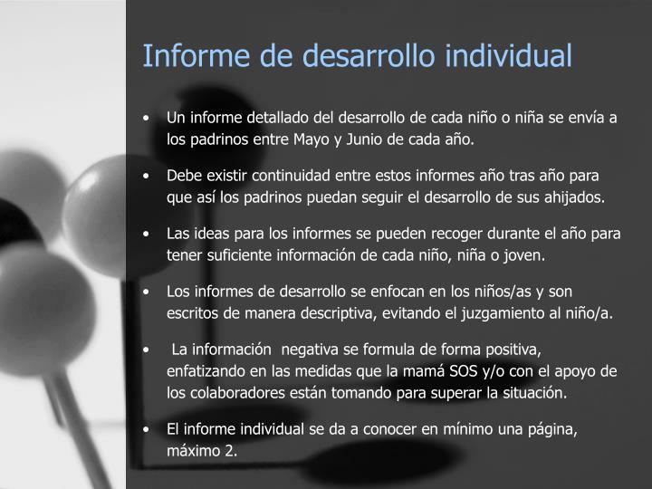 Informe de desarrollo individual