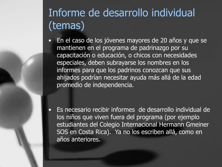 Informe de desarrollo individual (temas)