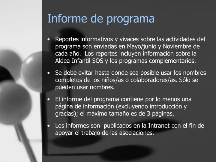 Informe de programa