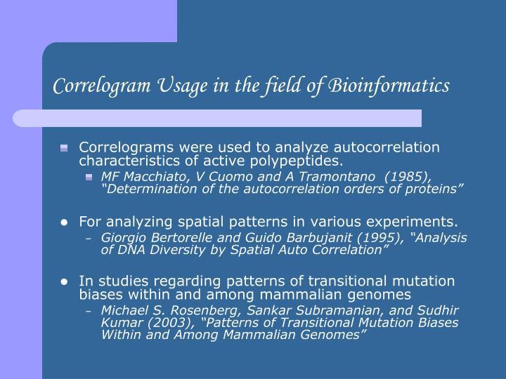 Correlogram Usage in the field of Bioinformatics