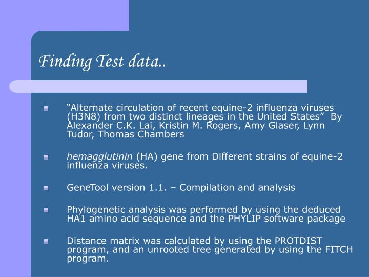 Finding Test data..
