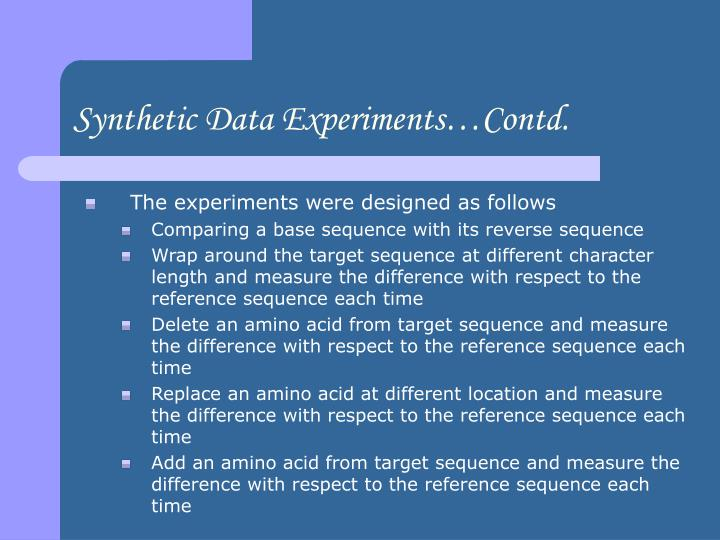 Synthetic Data Experiments…Contd.