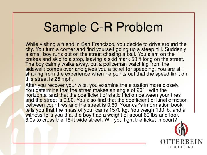 Sample C-R Problem