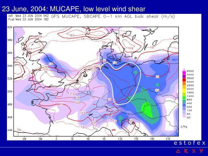 23 June, 2004: MUCAPE, low level wind shear
