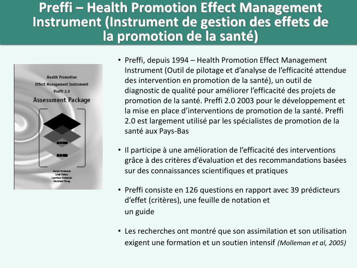 Preffi – Health Promotion Effect Management Instrument (Instrument de gestion des effets de