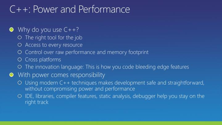 C++: Power and Performance