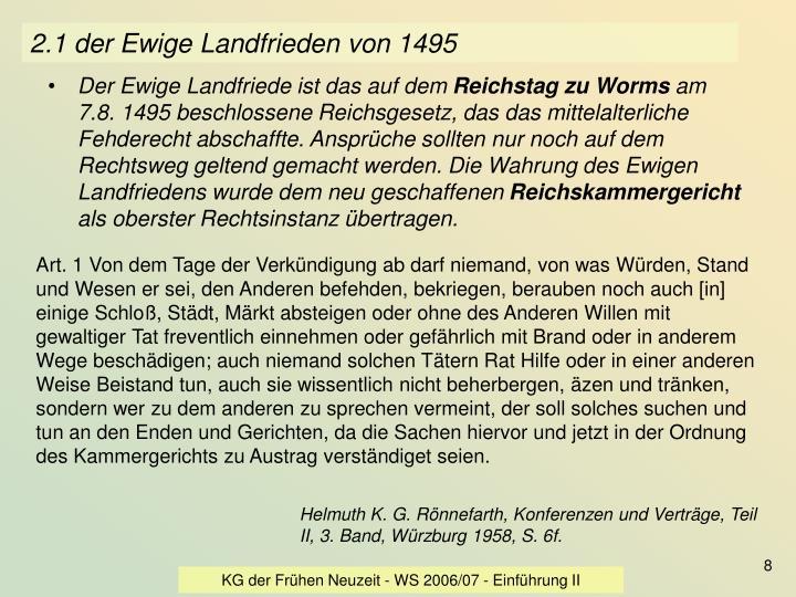 2.1 der Ewige Landfrieden von 1495