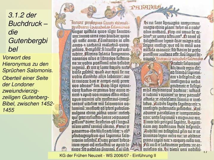3.1.2 der Buchdruck – die Gutenbergbibel
