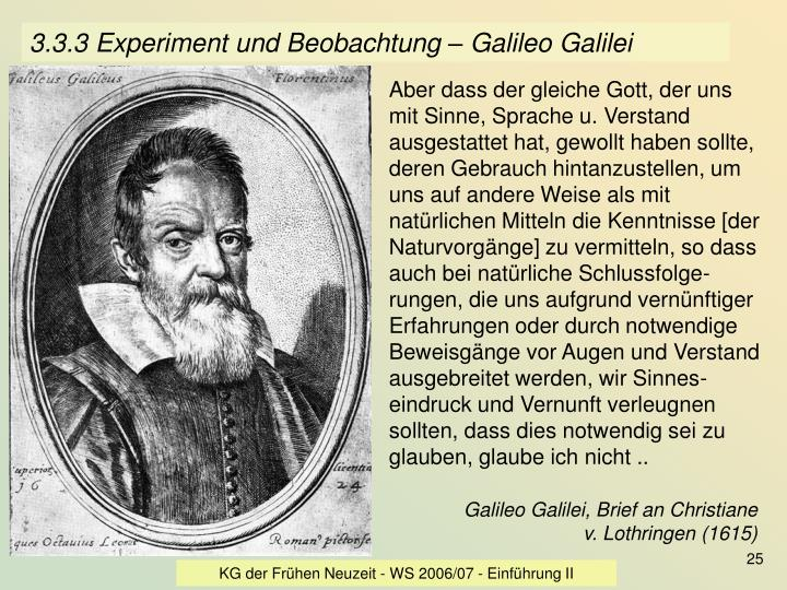 3.3.3 Experiment und Beobachtung – Galileo Galilei